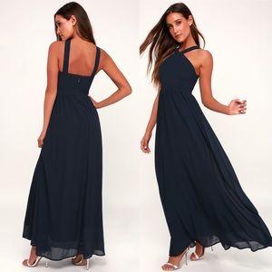 NWT Lulu's Air of Romance Navy Blue Maxi Dress